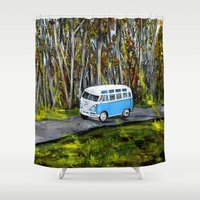 vw bus Shower Curtains featuring VW Bus by ThisArtToBeYours