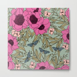 Coral California Poppies   Hand-drawn Modern Floral with Mint Background Metal Print