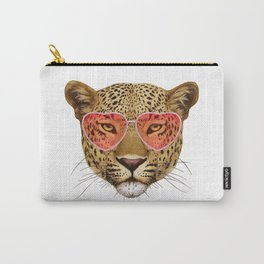 Leopard in Love! Portrait of Leopard with sunglasses. Carry-All Pouch