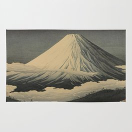 Shotei Takahashi Four Seasons of Mount Fuji Near Omuro Kawase Hasui Japanese Woodblock Print Rug