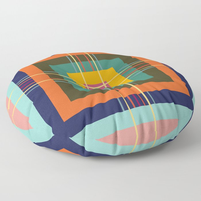 Fine Lines on Retro Colored Squares Floor Pillow