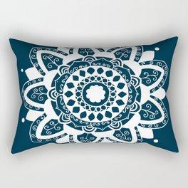 Vine white mandala on dark blue Rectangular Pillow