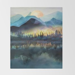 Mountain Lake Under Sunrise Throw Blanket