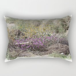 Digital Watercolor Spring Wildflowers at the Coachella Valley Preserve Rectangular Pillow