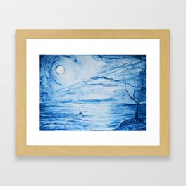 Full moon over shallow water Framed Art Print
