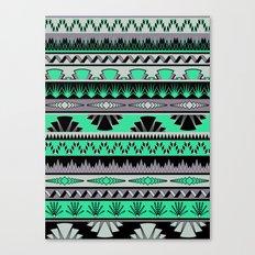 art deco stripes - green & pale purple Canvas Print