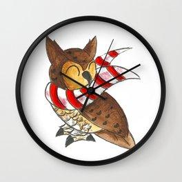 Cozy Christmas Owl Wall Clock