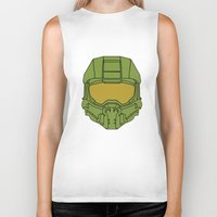 master chief Biker Tanks featuring Master Chief Helmet - Halo MCC by RoboKev