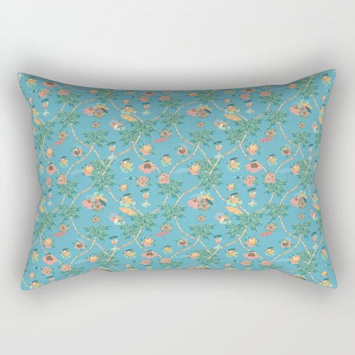 Tropical blue retro cocktail pattern Rectangular Pillow