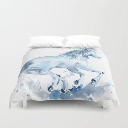 Watercolor Horse Galloping Duvet Cover