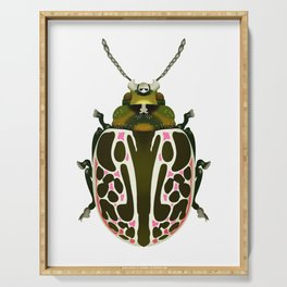 Green, White, Pink Beetle Serving Tray