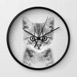 Kitten - Black & White Wall Clock