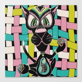 Black Cat Warp and Weft Canvas Print