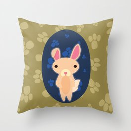 Rabbit with Paw Print Throw Pillow