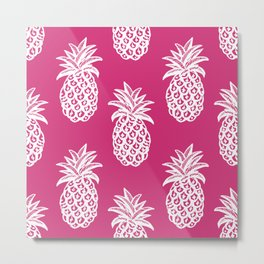 Pink yarrow inspired pineapples Metal Print