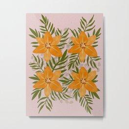 Yellow orange Lilies. Floral print. Greens Metal Print