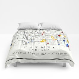 Carmel Indiana Map with GPS location Comforters