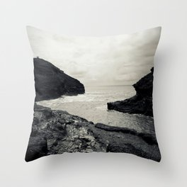 Boscastle Harbour Throw Pillow