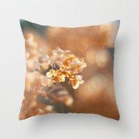 gold glitter Throw Pillows featuring Gold Glitter by Katie Kirkland Photography