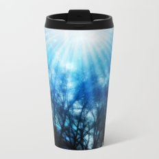 There Is Hope In the Light : Black Trees Blue Space Metal Travel Mug