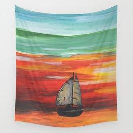Sailboat at Sea During Sunrise Wall Tapestry