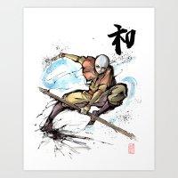 Aang from Avatar the Last Airbender sumi/watercolor Art Print