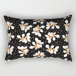White And Orange Flowers On Black Rectangular Pillow