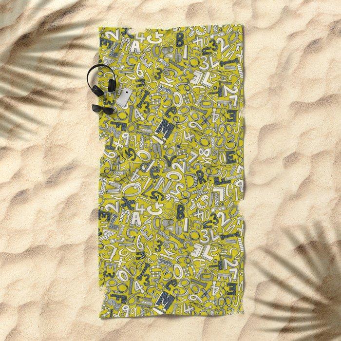 A1B2C3 chartreuse Beach Towel