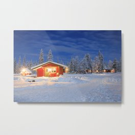Holiday Home in Winter Landscape at Lapland Metal Print