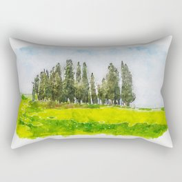 Aquarelle sketch art. Beautiful spring minimalistic landscape with Italian Cypress on the green hill Rectangular Pillow
