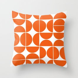 Mid Century Modern Geometric 04 Orange Throw Pillow
