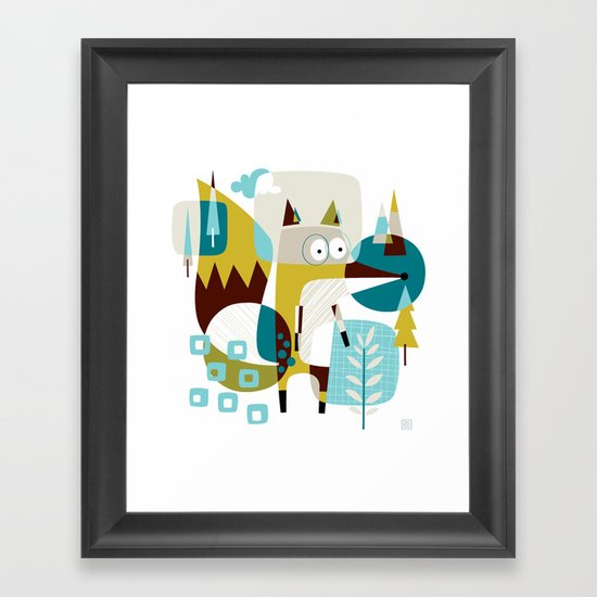 Fox in a box Framed Art Print