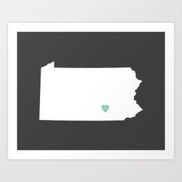 Pennsylvania Love in Charcoal Art Print