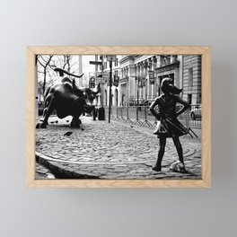 Fearless Girl and the Charging Bull Framed Mini Art Print