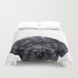 Black toy poodle Dog illustration original painting print Duvet Cover
