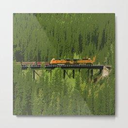 Orange Locomotive - Train Abstract Metal Print