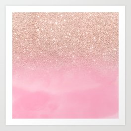 Modern rose gold glitter ombre hand painted pink watercolor Art Print