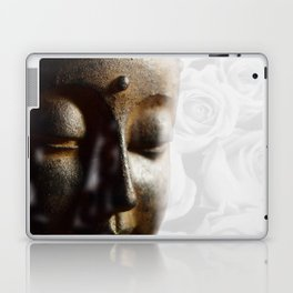 Buddha's face with faded white roses Laptop & iPad Skin