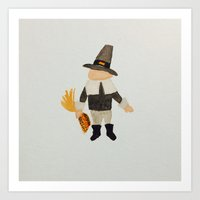 toddler Art Prints featuring November Thanksgiving Pilgrim Puritan Baby Boy Toddler by PodArtist