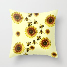 Yellow Sunflowers and Honey Bees Summer Pattern Throw Pillow