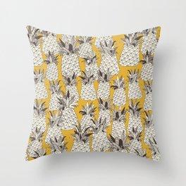 pineapple sunshine yellow Throw Pillow