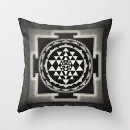Sri Yantra XVII - Moon White Throw Pillow