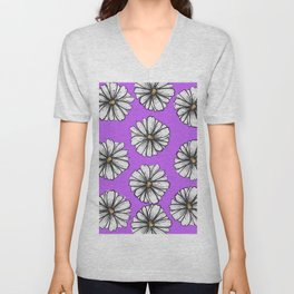 Please Don't Eat the Daisies Violet Unisex V-Neck