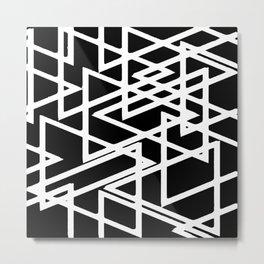 Interlocking White Triangles Artistic Design Metal Print