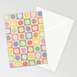 Colorful Flower Checkered Pattern Stationery Cards