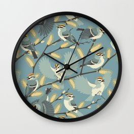 Golden-crowned Kinglets in a Pussy Willow (Dawn) Wall Clock