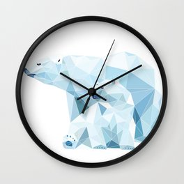 polygonal polar bear Wall Clock