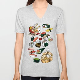 Sushi White Unisex V-Neck