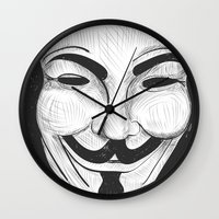 anonymous Wall Clocks featuring Anonymous by nicole carmagnini