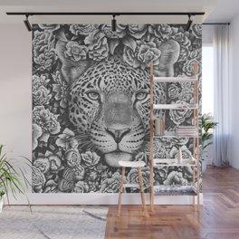 Jaguar in flowers Wall Mural